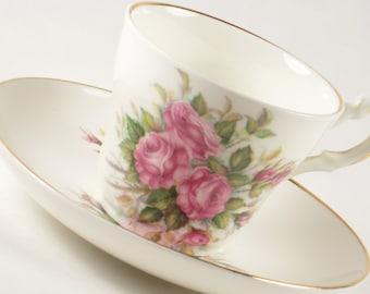 Vintage Mayflower Fine Bone China Teacup Demitasse Cup Made in England Pink Roses
