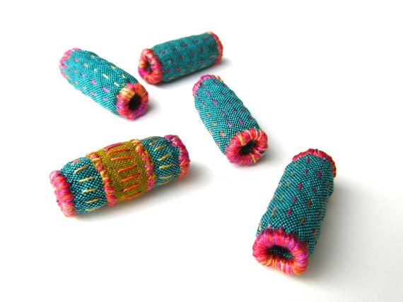 Fabric Beads - Handmade Quilted Fiber Beads - Blue Green and Pink - Textile and Fiber Art Jewelry Supplies - Set of Five