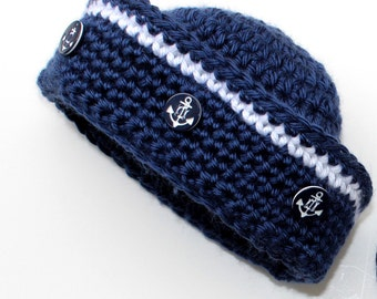Crochet Sailor Hat Pattern - Nautical Baby Boy - Baby Girl - KrissysWonders  No 70
