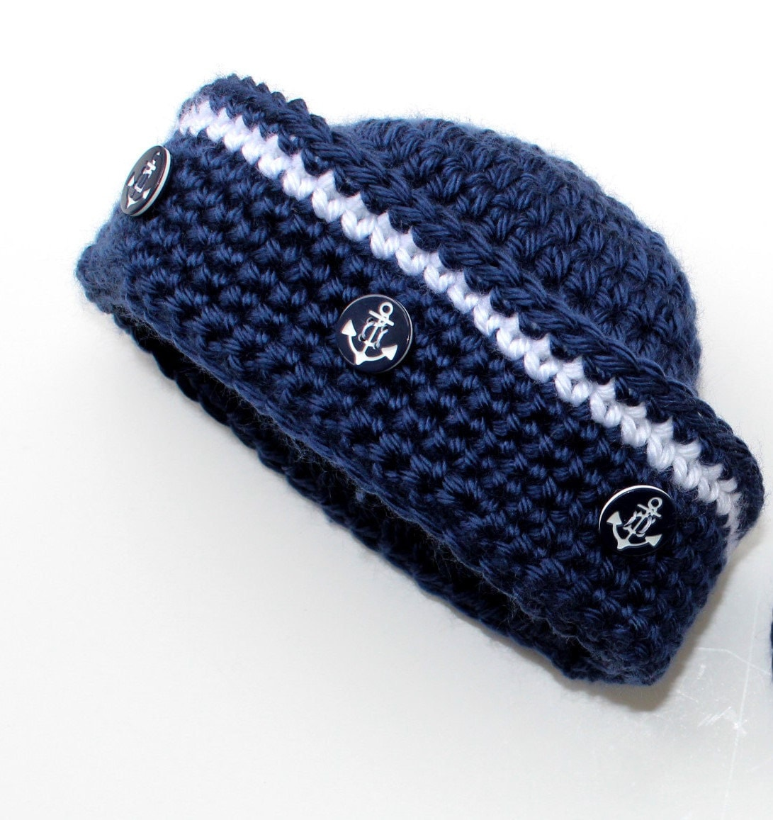 Crochet Pattern Sailor Hat : Crochet Sailor Hat Pattern Nautical Baby Boy Baby Girl