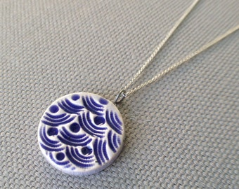 stormy seas necklace, blueberry and periwinkle ... handmade porcelain jewelry by Sofia Masri