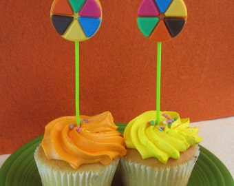 12 CUPCAKE TOPPERS - set of 12 upcycled