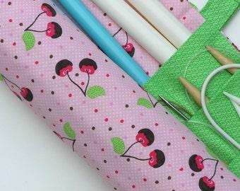 large knitting needle case - knitting needle organizer - chocolate covered cherries on pink- 36 pockets