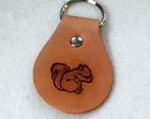 Brown Leather Key Fob with Squirrel