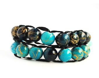 Blue and Teal with silver clasp - Ablet Knitting Abacus - Row Counting Bracelet