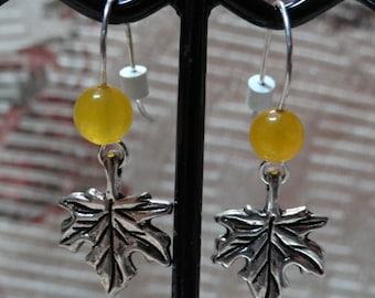 Leaf Gold Jade Earrings
