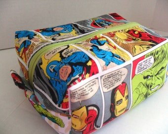 Boxy Makeup Bag - Cosmetic Bag - Zipper Bag - Marvel- Boxy Bag - Marvel Boxy Make Up Bag - Marvel Bag - Cosmetic Bag