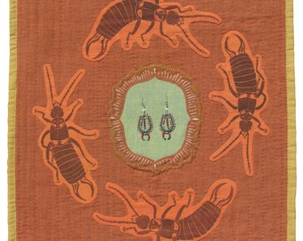 """8.5"""" x 11"""" Print - EARWIGS - insect art / insect print / fiber art / embroidered art / applique / new mexico art / archival reproduction"""