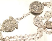 Rosary Religious Necklace Catholic Medals Rhinestone Assemblage Necklace Rosary Pendant