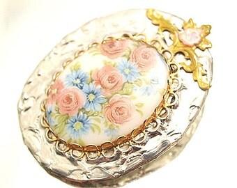 Pastel Roses Soldered Brooch Vintage Assemblage Pin Broach