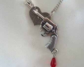 Gun Heart Necklace, Blood Drop Jewel Dangle, Sterling Silver Ox Plate, Original Design, Handmade, USA,