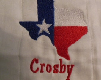 """Texas """"flag"""" burp cloth"""