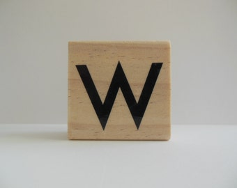 Letter W Stamp - Paisley Pizazz Collection - Wood Mounted Rubber Stamp - Alphabet Letter W