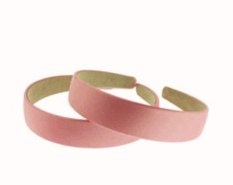"2 pieces-25mm (1"") Satin Covered Headband in Pink"