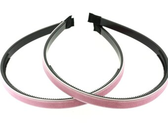 "2 pieces - 10mm (3/8"") Velvet Lined Headband with Teeth in Pink - Hair Accessories"