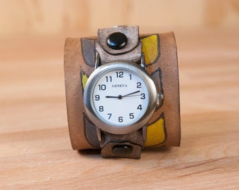 Leather cuff watch - Roger pattern in yellow, white, gray and antique black