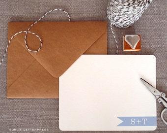 Custom Letterpress Note Cards - Set of 50 w/Kraft Envelopes - Banner Initials Design