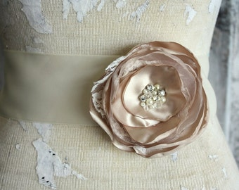 Champagne dress sash, Champagne and lace wedding dress sash, champagne fabric flower dress sash