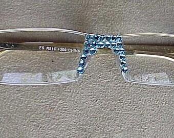 Sassy Aqua Crystal Reading Glasses handmade with Swarovski crystals Elements, Readers all strengths