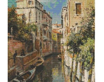 Canal In Venice by Louis Aston Knight, pattern for loom or peyote