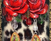Reserved ---Please Do Not Purchase--Salvate Corazon - Day of the Dead Earrings by Killerdolly666 Red Roses