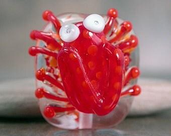 Lampwork Frog Focal Bead Red & Orange Divine Spark Designs SRA LeTeam
