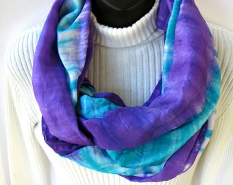 Hand Dyed Silk Infinity Scarf - Holiday Brights Purple Scarf hand Dyed Winter  Fashion Cowl Circle Scarf Gift for Women scarves gift for her