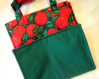 Grocery Tote Apples and Green Lining