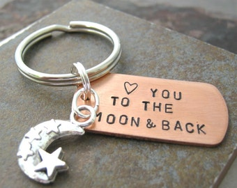 Love You to the Moon & Back Keychain, a sweet sentiment, gifts under 20, great for your significant other, best friend, sibling
