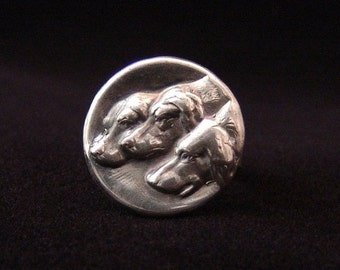 Sterling Silver Three Dogs ring made from antique vintage button
