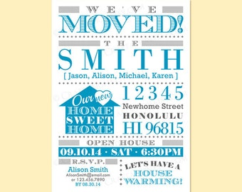 Custom Modern Retro Moving Announcement / Housewarming Invite Invitation Digital Design - Typography / We've Moved / Home Sweet Home / House