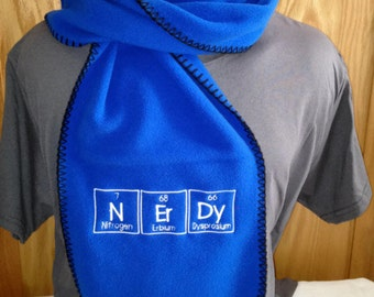 Ready to Ship NErDy Scarf Periodic Table Letters Chemistry Nerd Science Geek  - Royal Blue