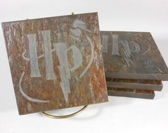 Stone Coasters: Potterhead Fan - 4 Carved Slate Coasters, Wizard Drink Coasters, Castle Decor, Fantasy Coasters, Child Room Decor, Fan Art