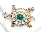 Vintage Rhinestone and Art Glass Turtle Pin