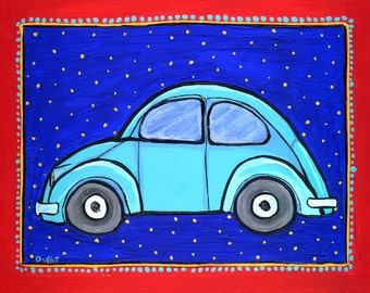 Volkswagen, Bug beetle Car, Print, illustration, vintage retro Shelagh Duffett
