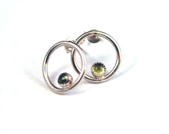 Peridot Silver Hoop Earrings