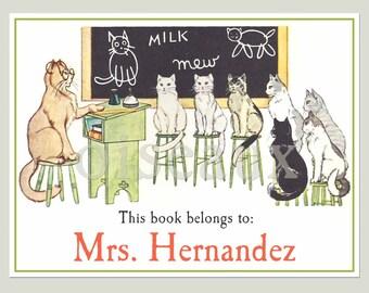 Personalized Vintage Bookplates - Cat School - Adorable Teacher, Graduation, Back-to-School Gift