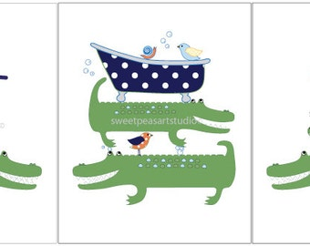 Alligator Art Kids Bathroom Wash Brush Bath