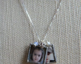 Double Soldered Glass Photo Charm Necklace