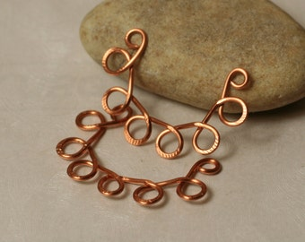 Handmade solid copper flower link connector drop size aprox 35x23mm, 2 pcs (item ID LCD32x30)