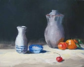 Original Oil painting, SAKE JAR, daily painting, still life, 8x10 inch