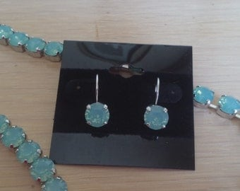 8mm Pacific Opal Swarovski Crystal Drop Earrings in a Rhodium Plated Setting