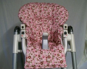 Primma  Pappa Highchair Replacement Cover In Pink and Brown Flowers/wipeable