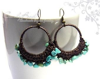 Hippie Boho Earrings, Blue Turquoise Waxed Cord Earrings