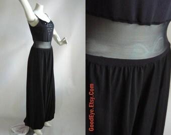 Vintage Lycra Jumpsuit Black / SHEER Waist Stretch size 6 8 10 12 / JAZZ Dance Harem Pants/  Curtain Call Costumes USA
