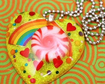 Candy Land - Resin Candy and Rainbow Necklace