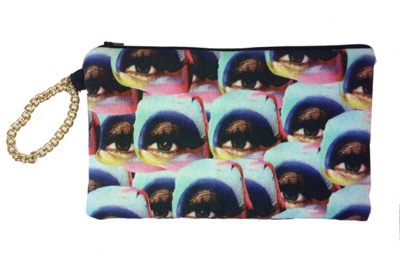 Large Clutch Purse Make Up Eye Print