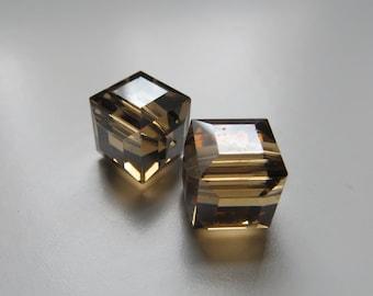 10mm Smoked Topaz Swarovski Cubes - Two Beads
