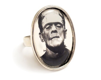 Frankenstein ring Frankenstein's monster ring, silver gothic adjustable UNIVERSAL STUDIOS Boris Karloff 1931 goth unisex