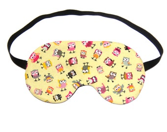 Little Tossed Owls on Yellow Sleep Eye Mask